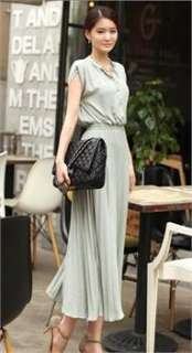 Korean Women Pleated Slim Long Dress One Piece WD008
