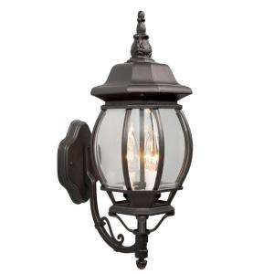 Hampton Bay Wall Mount 3 Light Outdoor Black Light Fixture 002 3391BK