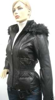 BABY PHAT CINCHED WAIST LEATHER JACKET COAT BLACK LARGE