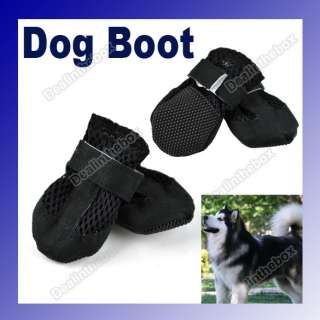 New Pet Dog Boot Shoes Air Holes Black Suede Synthetic