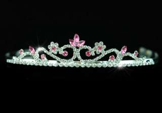 Bridal Wedding Pink Crystal Rhinestone Tiara Comb T1201