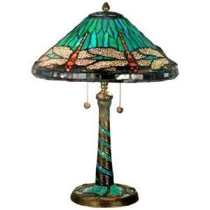 Dragonfly Mosaic Art Glass Dale Tiffany Table Lamp