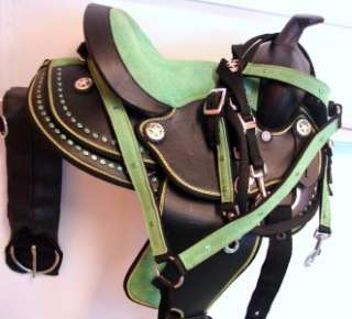 Pony Trail Barrel Saddle 10 Green Bling Syntec headstall BP