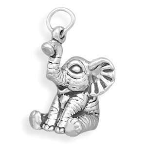 Sterling Silver Sitting Baby Elephant Charm Measures