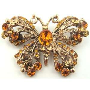 Gold with Honey Amber Colored Crystal Butterfly Brooch Pin Jewelry
