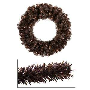 Mocha Brown Artificial Christmas Wreath   Clear Lights