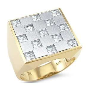 14k Yellow White Two Tone Gold Mens Huge Square CZ Cubic Zirconia Ring