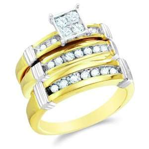 10K Two Tone Gold Diamond Mens and Ladies His & Hers Trio 3 Three Ring