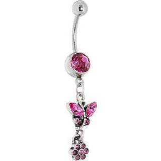 Antique Silver Floral Ivy Pink Gem Dangle Belly Ring