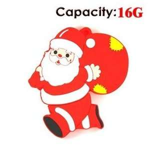 16GB Running Santa Claus USB Flash Drives Disk (Red) Electronics