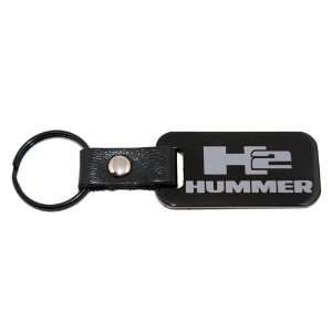 Hummer H2 Black Leather Key Chain Fob Leather Strap