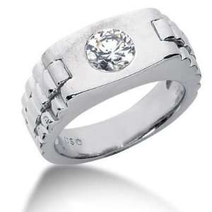 Men s 18K Gold Diamond Ring 1 Round Stone 1.00 ctw 12118