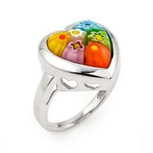 Murano Glass Millefiori Multi Color Heart Sterling Silver Ring