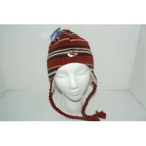 NFL Kansas City Chiefs Knit Beanie Ski Hat Cap Lid with Braids