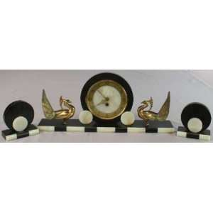 French Art Deco Marble Garniture Mantle Clock Peacock