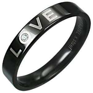 Black Stainless Steel LOVE Ring, Promise Band, with CZ (5) Jewelry