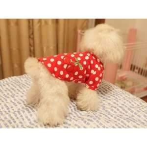Pet Puppy Doggie Dog Clothes Strawberry Skirt Shirt T