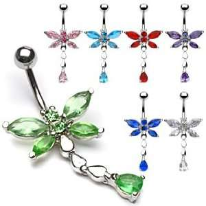 Tanzanite Cubic Zirconia Dragonfly Belly Ring   14G   3/8 Bar Length