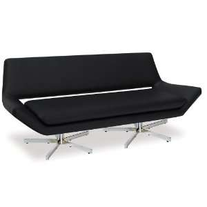 Avenue Six Yield 72 Love Seat. Black Faux Leather.