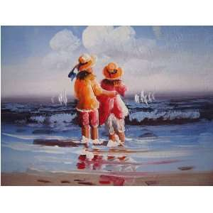 SEA & Girl Original Abstract Oil Painting on Canvas Art Gift Wall