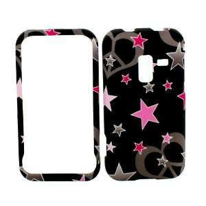 SAMSUNG CONQUER 4G PINK STARS AND HEARTS RUBBERIZED COVER