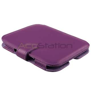 Purple Leather Cover Case+LCD Screen Protector For Nook Simple Touch