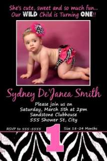 ZEBRA Hot Pink Lime Green Sassy Baby Shower Invitation